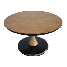 Woodsy Round Adjustable Coffee Table Black Base, Natural Oak
