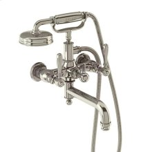 Arcade Exposed Wall-mount Tub Faucet with Handshower and Metal Lever Handles - Polished Chrome