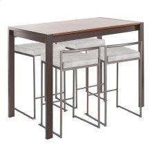 Fuji 5-piece Counter Set - Antique Metal, Walnut Wood, Light Grey Cowboy Fabric