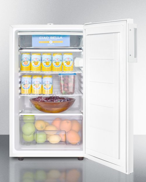 "Commercially Listed ADA Compliant 20"" Wide Counter Height Refrigerator-freezer With A Lock, White Exterior"