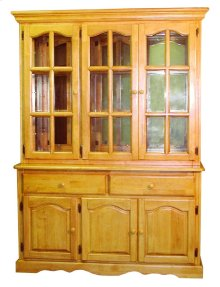 Sunset Trading Treasure Buffet and Lighted Hutch in Light Oak Finish