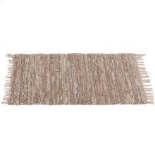 Beige Leather Chindi 2'x3' Rug (Each One Will Vary).