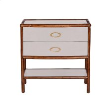 Worn Ivory Canvas Nightstand