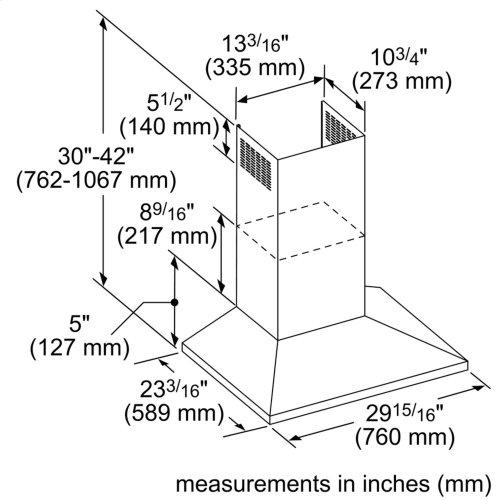 30-Inch Masterpiece® Pyramid Chimney Wall Hood with 600 CFM