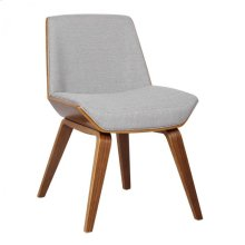 Armen Living Agi Mid-Century Dining Chair in Walnut Wood and Gray Fabric