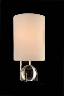 Polished Nickel and Crystal Sphere Wall Sconce