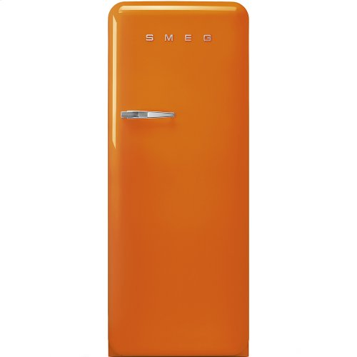 "Approx 24 "" 50'S Style Refrigerator with ice compartment, Orange, Right hand hinge"