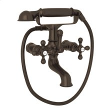 Tuscan Brass Exposed Tub Filler With Handshower with Arcana Cross Handle
