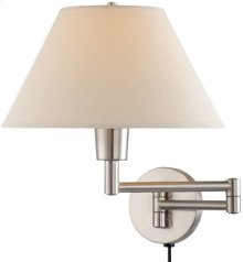 Swing-arm Wall Lamp, Ps W/off/white Shade, 100w/a Type