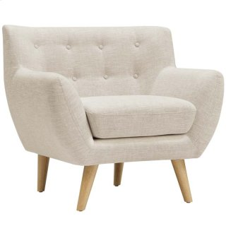 Remark Upholstered Fabric Armchair in Beige