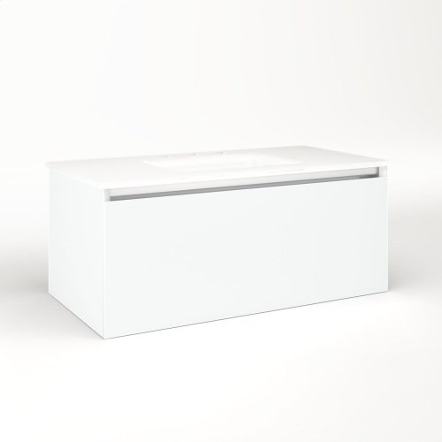 """Cartesian 36-1/8"""" X 15"""" X 18-3/4"""" Single Drawer Vanity In Matte White With Slow-close Plumbing Drawer and No Night Light"""