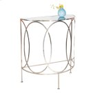 Nickel Plated Console With Oval Details and Antique Mirror Top. Product Image