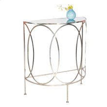 Nickel Plated Console With Oval Details and Antique Mirror Top.