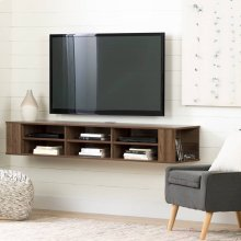 Wall Mounted Media Console - 66\ - Natural Walnut