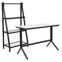 Highland Collection Glass Computer Desk and Bookshelf with Black Metal Frame