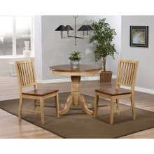 "DLU-BR3636-C60-PW3PC  3 Piece 36"" Round Dining Set with Slat Back Chairs"