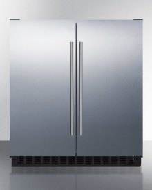Frost-free Side-by-side Refrigerator-freezer for Built-in or Freestanding Use With White Cabinet, Stainless Steel Doors, and Digital Controls
