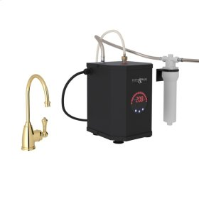 Unlacquered Brass Perrin & Rowe Georgia Era C-Spout Hot Water Faucet, Tank And Filter Kit with Traditional Metal Lever
