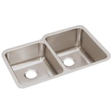 """Elkay Lustertone Classic Stainless Steel, 31-1/4"""" x 20-1/2"""" x 9-7/8"""", Offset Double Bowl Undermount Sink"""