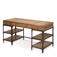 Olie Writing Desk with 3 Drawers, 4 Metal Shelves