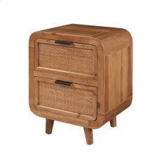 Maile KD Bamboo Side Table w/ 2 Bamboo Panels Drawers, Tawny Brown