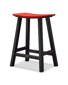 "Black & Sunset Red Contempo 24"" Saddle Bar Stool"