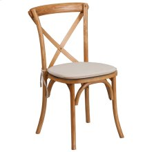 Stackable Oak Wood Cross Back Chair with Cushion