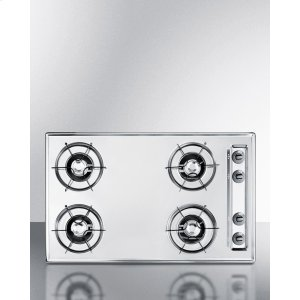 """Summit30"""" Wide Gas Cooktop In Brushed Chrome, With Four Burners and Gas Spark Ignition; Replaces Ztl053"""