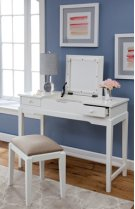 Vanity and Upholstered Bench White Product Image
