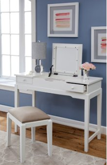 Vanity and Upholstered Bench White