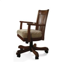 Cantata Upholstered Desk Chair Burnished Cherry finish