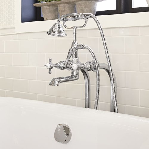 Traditional Floor Mount Bathtub Faucet with Landfair Cross Handles - Polished Chrome