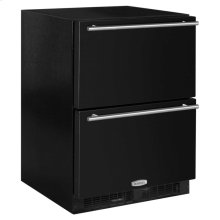 "24"" Refrigerated Drawers - Marvel Refrigeration - Solid Black Drawer Front, Stainless Steel Designer Handles"