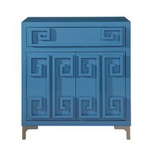 Contemporary High Gloss Blue Two Door Accent Wine Cabinet