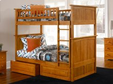 Nantucket Bunk Bed Twin over Twin with Raised Panel Bed Drawers in Caramel Latte