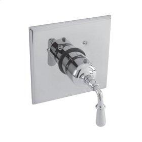 Matte-White Square Thermostatic Trim Plate with Handle