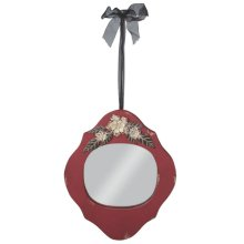 Distressed Red Wall Mirror with Flower