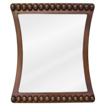 "24"" x 28"" Rosewood mirror with beaded accents and beveled glass"