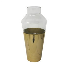 "14"" Metal & Glass Vase, Gold"