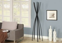 "COAT RACK - 72""H / SATIN BLACK METAL CONTEMPORARY STYLE"