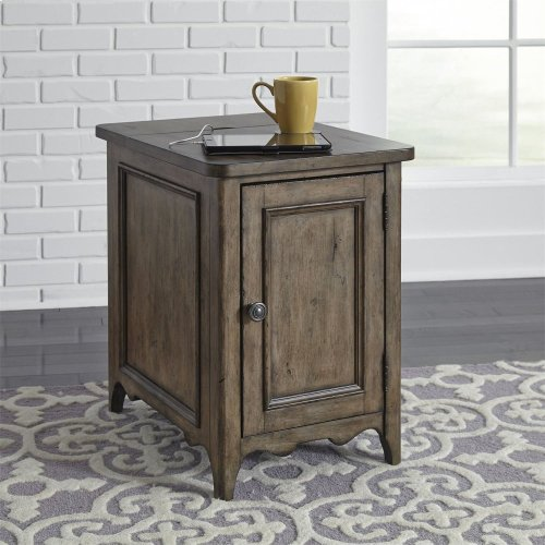 Door Chair Side Table w/ Charging Station