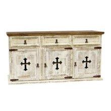 White 3 Door/Drawer Buffet W/Cross