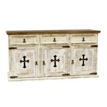 White 3 Door/Drawer Buffet W/Cross