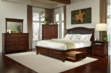 Queen Upholstered Bed with Three Drawer Storage