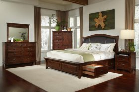 King Upholstered Bed with Six Drawer Storage
