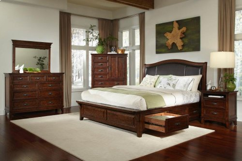 King Upholstered Bed with Three Drawer Storage
