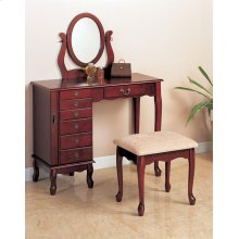 Transitional Brown Red Vanity Set