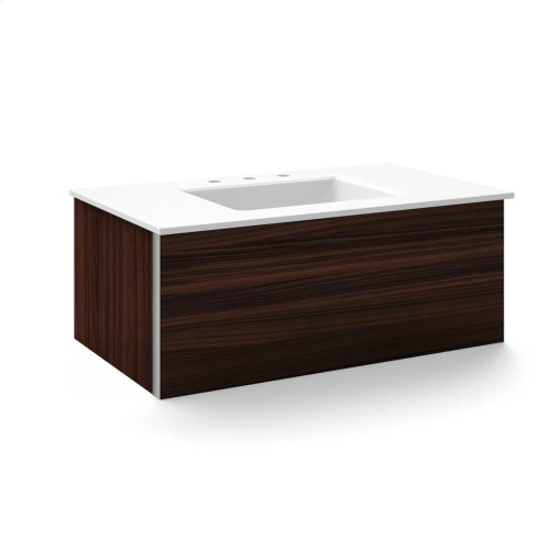 """V14 36-1/4"""" X 14"""" X 21"""" Wall-mount Vanity In Indian Rosewood With Push-to-open Plumbing Drawer and 37"""" Stone Vanity Top In Quartz White With Center Mount Sink and Single Faucet Hole"""