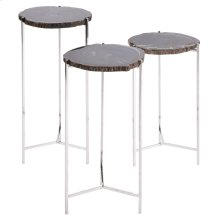 Edith 3 Sets Petrified Side Table Stainless Steel Legs, Natural