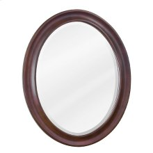 "23-3/4"" x 31-1/2"" Nutmeg oval mirror with beveled glass"